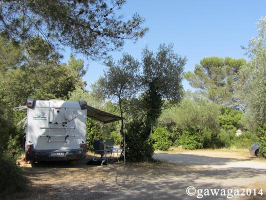 unser Platz auf dem Camping Fondespierre