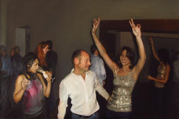 """Daniela's Birthday Party"" Composition 6. Oil on canvas, 40 x 60 cm. 2012"