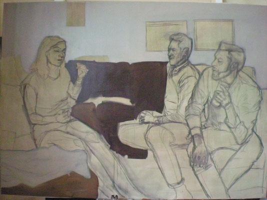 (Bad quality provisional photography/Fotografía provisional de mala calidad) Process oil on canvas, January 2014/proceso óleo sobre lienzo 115 x 160 cm. Enero 2014