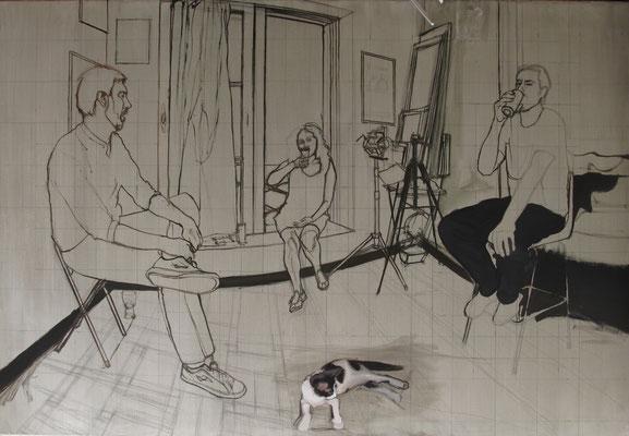 Process oil on canvas, December 2013/ proceso óleo sobre lienzo 100 x 145 cm. Dic. 2013
