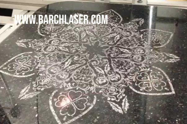 Marbel engraving with UV laser