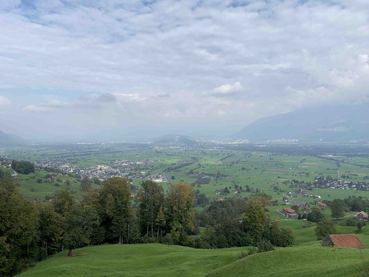 Blick ins Rheinthal. Weit dort hinten ist mein Ziel.