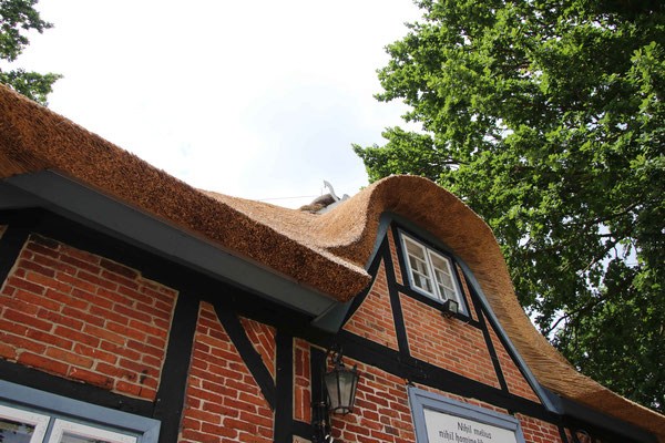 Reetdächer haben als Bautenschutz einen mind. 50 cm grossen Dachüberstand (Traufüberstand) zum Schutz des Mauerwerks, da keine Regenrinne das Wasser abführt