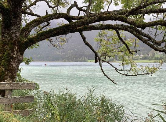Weissensee: Fischer mit Regenschirm