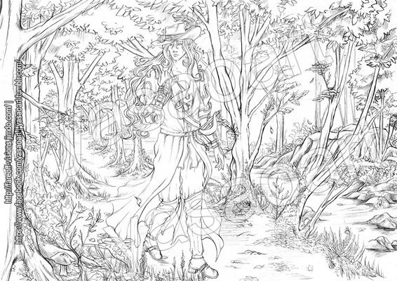 "The final ""lineart"", all finished and ready for tracing on watercolor paper."