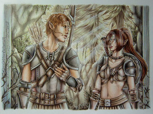 With the colored pencil-part finished, all it needed were some last effects in white ink to finish the drawing up!