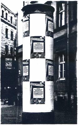 Plakatierung des Wäscheweisers Nr. 1 in Chemnitz. BArch R5002/25.