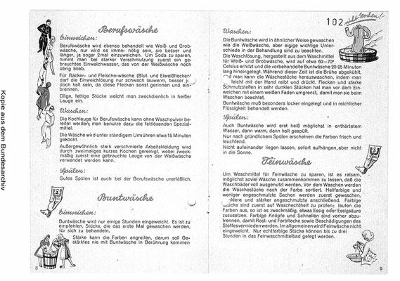 W1, 2, 3, gezeichnet von K. Wieschala, Innenseite 3. Waschfibel, 1943