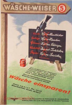 Plakat Wäscheweiser Nr. 5, 1942, Idee: Fritz Pauli. BArch R5002/25