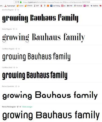 Zum Vergleich: Bauhaus-Family im Adobe-Typekit, Screenshot 26.8.2018