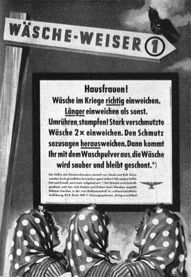 Plakat Wäscheweiser Nr. 1, 1942, Idee: Fritz Pauli, Ausführung: K. Wieschala. Werben und Verkaufen, 1942, H. 8.