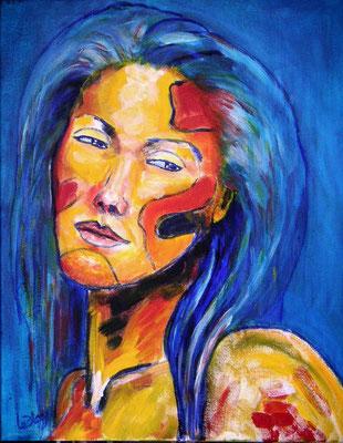 Mélancolie : peinture acrylique sur toile 38 x 46 cm