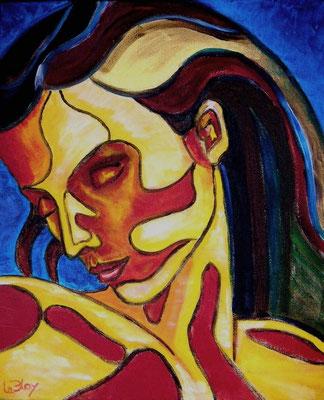 portrait : peinture acrylique sur toile 38 x 46 cm