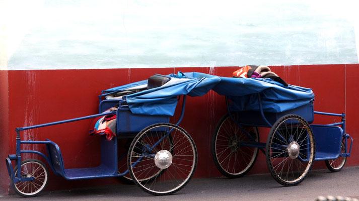 die blauen Kutschen in Lourdes