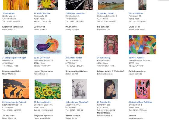 """Künstlerkatalog auf der website des Vereins """"Kunst in der Stadt Haan"""""""