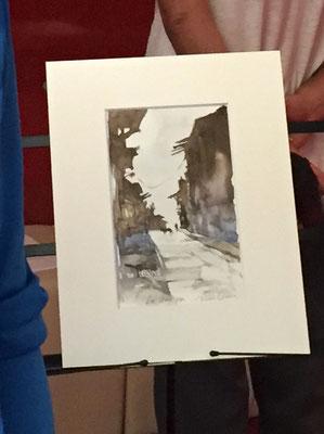 ラ・グアイラ旧市街をイメージして描く
