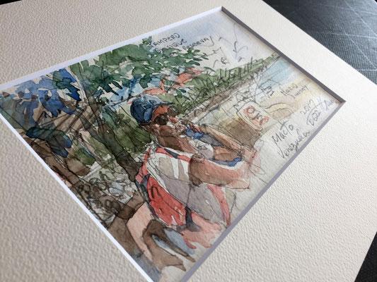 ガイドにした?地元の青年マクート海辺のカフェにて彼を描く