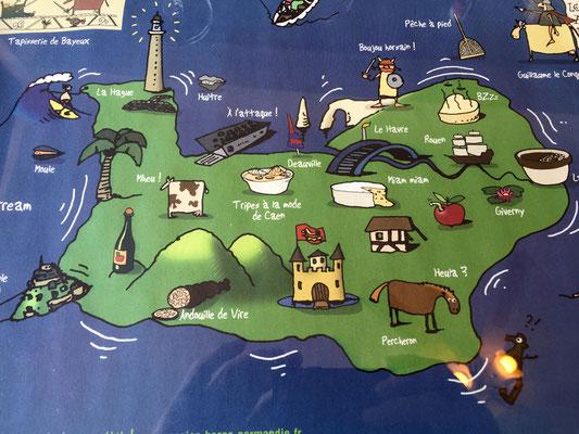 Vimoutiers...lunch ナプキンに描かれたノルマンディーの地図