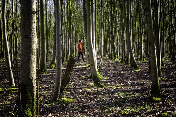 Frau in Rot zwischen Bäumen
