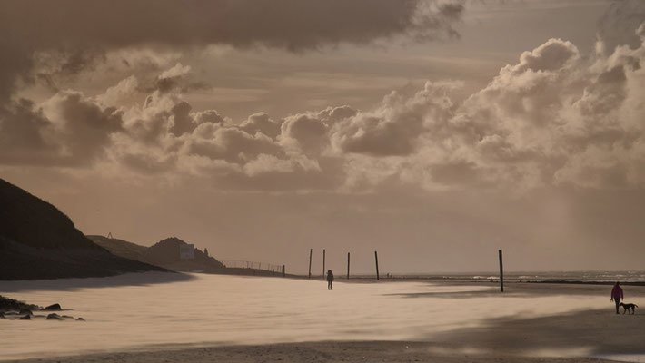 goldfarbener Sandsturm mit Wolken am Strand Wangerooge Deutschland