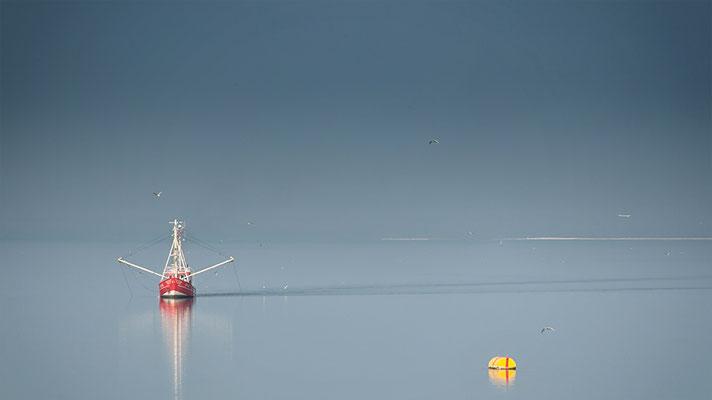Fischerboot rot mit Masten weiß und Tonne gelb bei Tönning Eider-Sperrwerk Deutschland