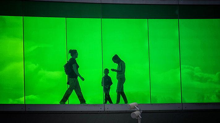 drei Menschen vor grünem Hintergrund