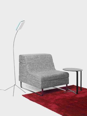 Canyon mit Beistelltisch X-Table und LED Leuchte Kirin
