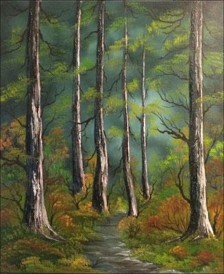 Nadelwald, Öl auf Leinwand (Andrea Christiane Spring, Motiv nach Bob Ross®)