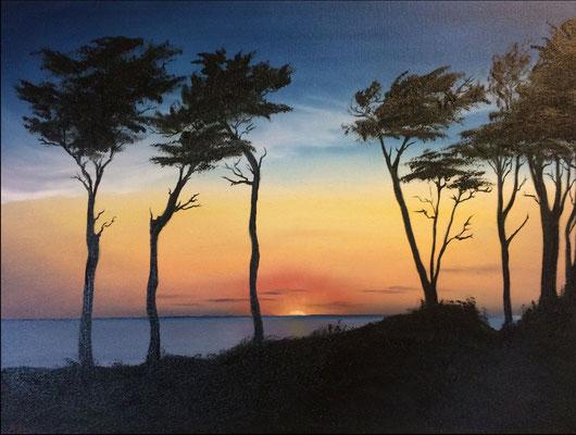 Sonnenuntergang, Weststrand, Darß. Öl auf Leinwand (Andrea Christiane Spring)