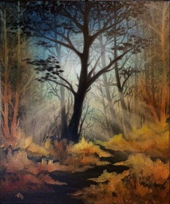 Lichtung, Öl auf Leinwand (Andrea Christiane Spring, Motiv nach Bob Ross®)