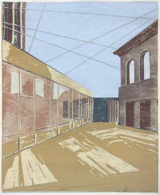 Bea »Roma« Linolschnitt 2018, 10. Zustand, Ex. 9, 19. Juli, 21 x 17,2 cm