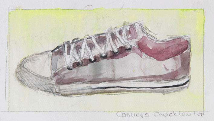 Convers Chuck Low Top, 2018, Bleistift, Aquarellfarbe