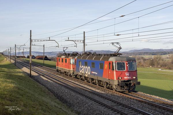 """Re 620 083 """"Amsteg-Silenen"""", Sins (17.02.2021) ©pannerrail.com"""