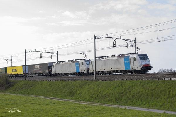 """Railcare BR 186 """"Flash Fire"""", Oberrüti (25.04.2021) ©pannerrail.com"""