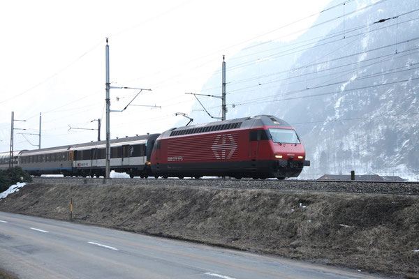 """Re 460 013-6 """"Nord Vaudois"""", Erstfeld, 28.02.2013 (©pannerrail.com)"""