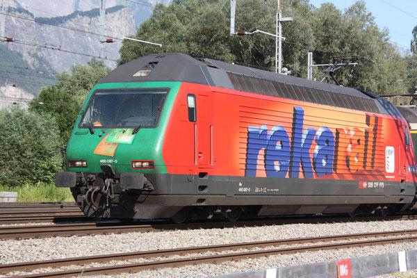"""Re 460 087-0 """"Rekarail"""", Sargans, 27.06.2011 (©pannerrail.com)"""