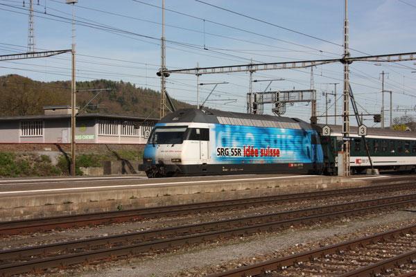 "Re 460 020-1 ""SRG SSR idée suisse"", Killwangen, 06.04.2011 (©pannerrail.com)"