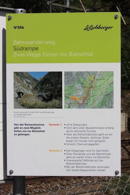 """BLS Wanderweg """"Lötschberger"""" - Wegbeschreibung zur Bietschtalbrücke"""