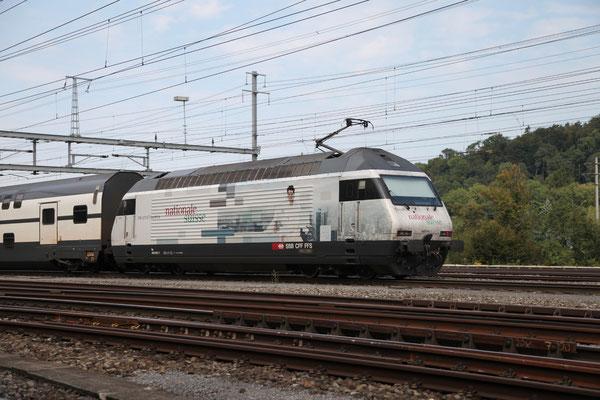 """Re 460 003-7 """"Nationale Suisse"""", Killwangen, 06.09.2013 (©pannerrail.com)"""