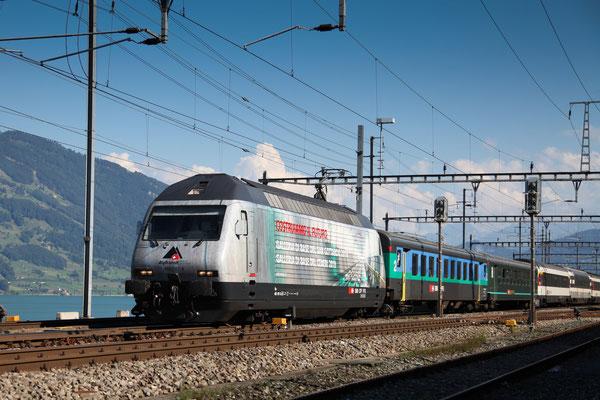 """Re 460 107-6 """"Alptransit"""", Immensee, 05.09.2013 (©pannerrail.com)"""