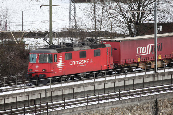 "Crossrail Re 436 112-7 ""Zita"", Frutigen (25.11.2013) ©pannerrail.com"