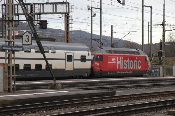 """Re 460 102-7 """"Historic"""", Killwangen, 28.12.2012 (©pannerrail.com)"""