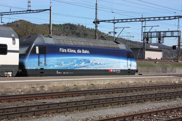 """Re 460 002-9 """"Fürs Klima die Bahn"""", Killwangen, 06.04.2011 (©pannerrail.com)"""