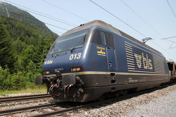 """BLS Re 465 013-1, """"Stockhorn"""", Mülenen (30.06.2012) ©pannerrail.com"""