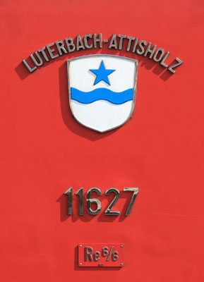 Re 6/6 Luterbach-Attisholz Gemeindewappen ©pannerrail.com