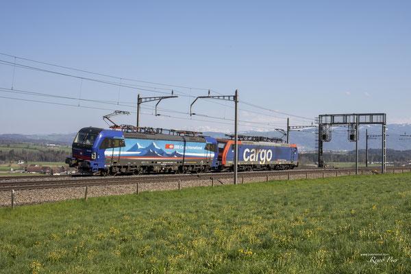 """SBB Cargo International, BR 193 529 """"Neckar"""", Sins (24.04.2021) ©pannerrail.com"""