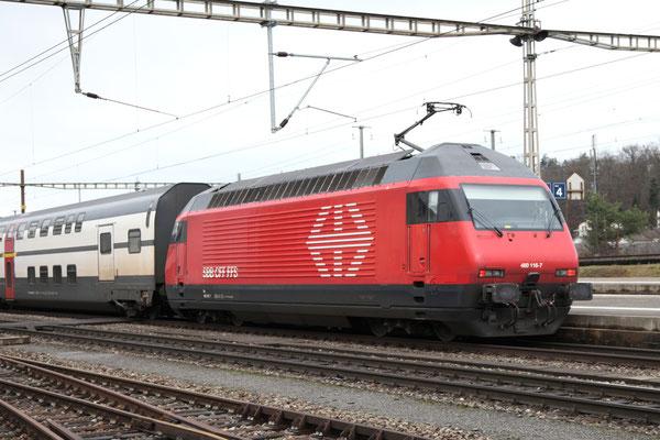 """Re 460 116-7 """"Ostschweiz"""", Killwangen, 28.12.2012 (©pannerrail.com)"""