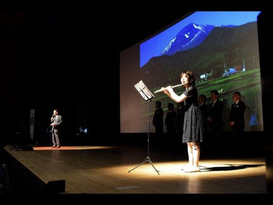 Mr. Makoto Yamamoto's greeting begins with flute music