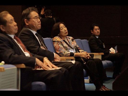 From the left, Mr. Masahiro Kuwata. Mr. Koji Sato. Miss. Kiyoko Ban. Mr. Ken Takahashi