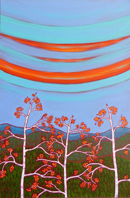 """The Kingdom of the Birches, 36"""" x 24,"""" acrylic on canvas, $1,800"""